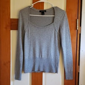 White House Black Market silver sweater size small